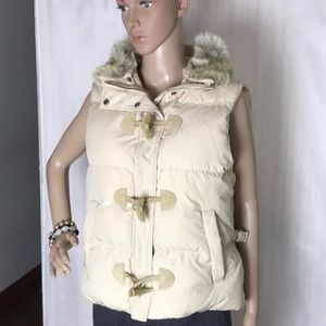 Down Vest with Coyote Fur Collar Size L